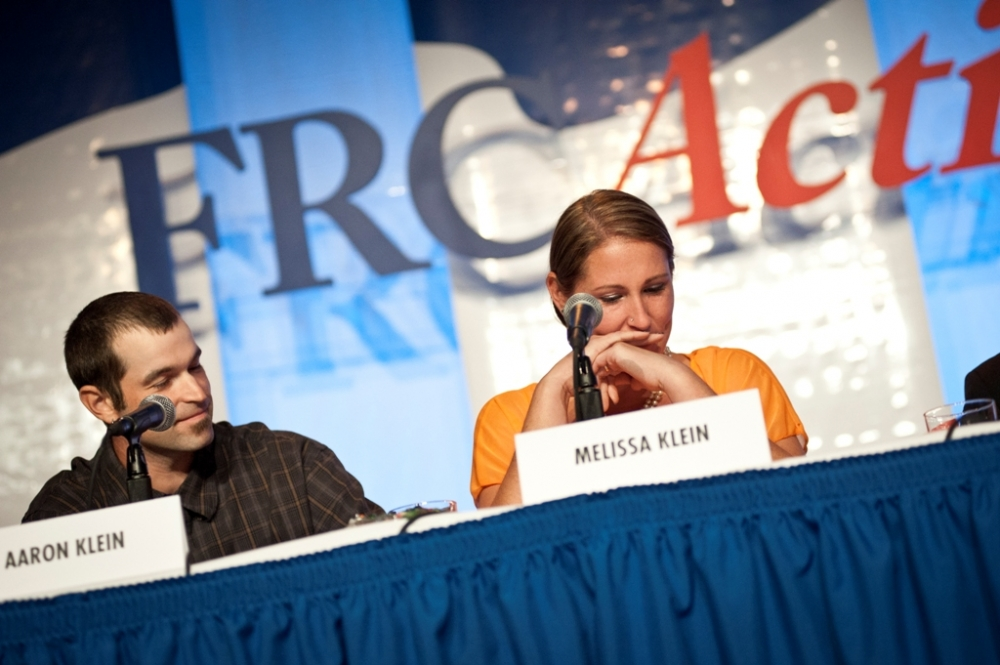 (PHOTO: FAMILY RESEARCH COUNCIL/CARRIE RUSSELL) Aaron and Melissa Klein, former owners of Sweet Cakes by Melissa bakery in Oregon, speak at the Values Voter Summit in Washington, D.C. September 26, 2014.