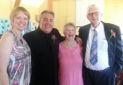 Happy wedding group, Audrey and Ron Duffield (right) and Carryn and Craig Duffield.