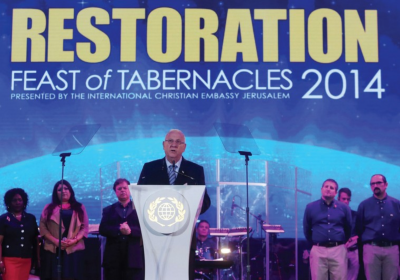 PRESIDENT REUVEN RIVLIN speaks at the Feast of Tabernacles Israeli guest night event, held at the Payis Arena in the capital yesterday.. (photo credit:MARC ISRAEL SELLEM/THE JERUSALEM POST)