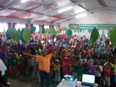 Children worshiping God at an Adventure Week session at Jesus Is Lord Ministries, Kleinskool.