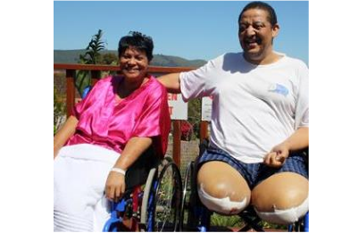 Maria and Rodney Lakay who lost their lower legs as a result of an accident at the Knysna leg of the Rogue Rally which they were watching. (PHOTO: Fran Kirsten)