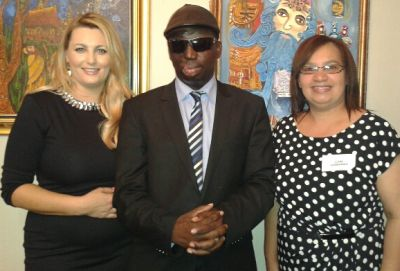 Jackie Georgiou (Watchmen on the Wall TV) Pastor Umar Mulinde (Uganda) , (right) Elena Groenewald (Inspirational tours and ABI)