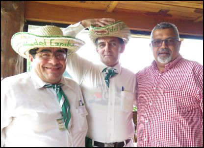 Pastor Jerome Liberty (right) in a restaurant in Santa Cruz, Bolivia with two men who recognised him from his appearance on a live television broadcast.