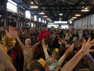 Joy erupts during the #Laughter Mob at The Sheds @ Fox St