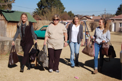 From the left, Aimee, Lee, Karen and Ash on a Bag Angels mission.
