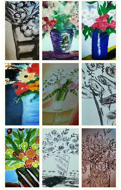 Artwork by offenders -oil paintings created in one hour, charcoal drawings complete in 15 minutes.