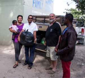 Dropping off food at Kingdom Connect Family Church in the Oshakati area.