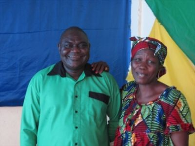 Rev. Nicolas Guérékoyamé Gbangou, President of Evangelical Alliance in CAR and his wife Priscilla in Feb. 2014.Gbangou is part of the negotiations aimed at obtaining the release of the two hostages.   Courtesy of Open Doors International