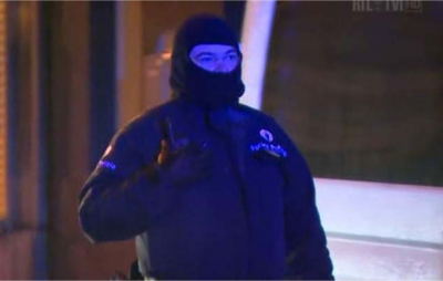 A member of the Belgian security forces at the scene of the incident. (PHOTO: Sky News)