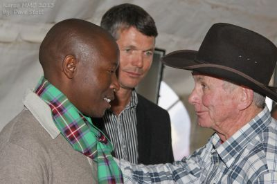 From the left, Afrika Mhlophe (KMMC speaker), Jannie Moolman (KMMC event coordinator) and Angus Buchan (Mighty Men Movement founder and speaker at this year's KMMC) at the KMMC 2013. They were part of a group of men who met at Buchan's farm, Shalom, ahead of this year's Mighty Men Conferences. (PHOTO: Dave Stott)