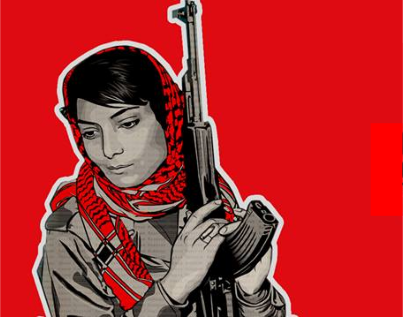Image of a young Leila Khaled clutching an AK47 rifle -- used by BDS South Africa to promote Khaled's planned fundraising tour of South Africa next month.