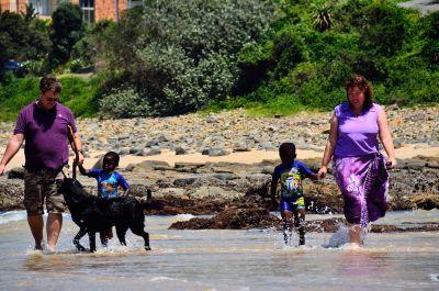 Fanie and Debbie Janse van Rensburg with their boys, Luke and Joseph at Morgan Bay.