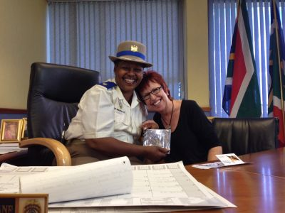 Joy Activist Sue Jameson shares a laugh break with  Superintendent Edna Mamonyane's outlook on life and how she saw herself. Mamonyane is the tough-talking spokeswoman for the Johannesburg Metro Police Department (JMPD)
