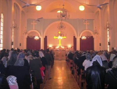 2009 Easter service at St Mary's Church, Hassaka. Now only 200 Christian families remain in nearby villages. (PHOTO: World Watch Monitor).