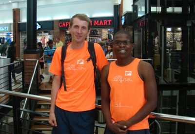 """Niels Vandereyken (left) and Reggie Kiti, two of the 12 runners participating in the 1 400km """"In the Long Run"""" from March 6 to 19."""