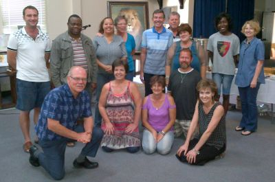 Some of the people attending the Firestarters course at Capital Park Christian Church, Pretoria. Pastor Manie Schoeman is kneeling in the left, front.