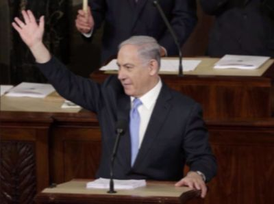 Prime Minister Behjamin Netanyahu during his historic address to the United States Congrss today.
