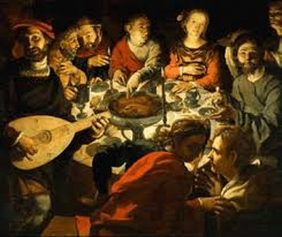 Painting depicting Jesus eating with sinners.
