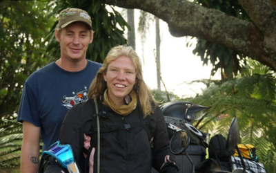 Adventurous m'cycle safari couple filming God's heart for Muslims