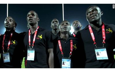 Ugandan national rugby team sings Christian hymn before every game