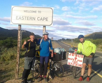 Cyclists prayer walking at Karoo Mighty Men after 1 550km ride