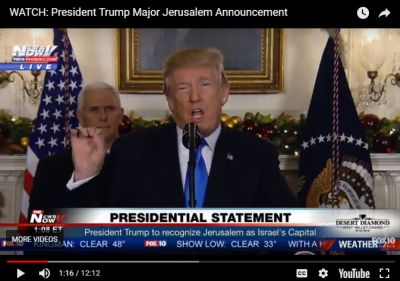 WATCH: President Trump recognises Jerusalem as Israel's eternal capital