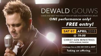 Free tickets on offer for Dewald Gouws concert in Cape Town on Saturday