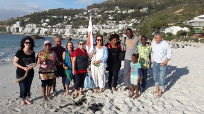 Prayer and blessing on Clifton Beach