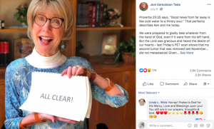 Joni Eareckson Tada thanks Jesus after being declared cancer free
