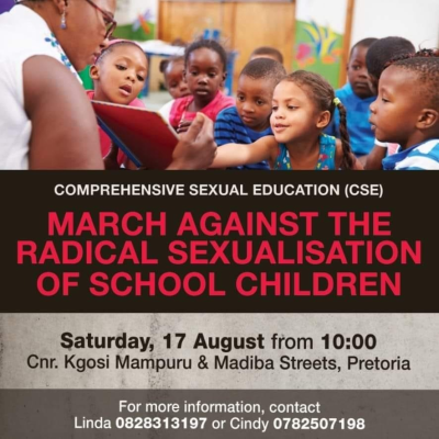 Pretoria march planned to oppose sexualisation of schoolchildren