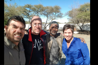 Tata Mkangeli Matomela and Jacques Malan with Paul and Hannelize Neethling, organisers of the meeting in Kimberly, on the recent second leg of the road trip where they interacted with local communities about answers and solutions to the countless challenges facing towns and cities in South Africa.