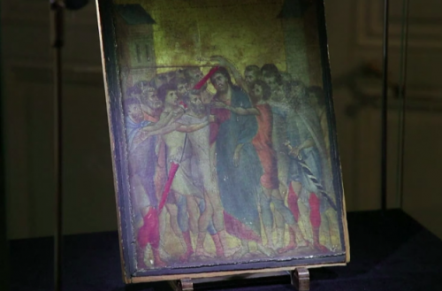 A rare painting from the Italian master Cimabue was found hanging in the kitchen of a woman outside Paris. | Screenshot/France24
