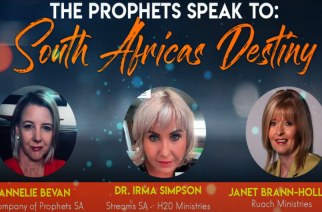 Screenshot of video in which Annelie Bevan, Dr Irma Simpson and Janet Brann-Hollis prophesy over South Africa's future in light of the coronavirus