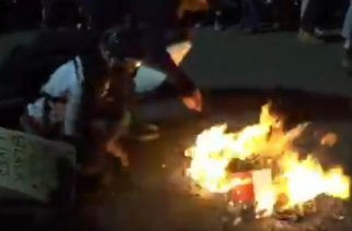 Portland rioters burn Bibles outside federal building